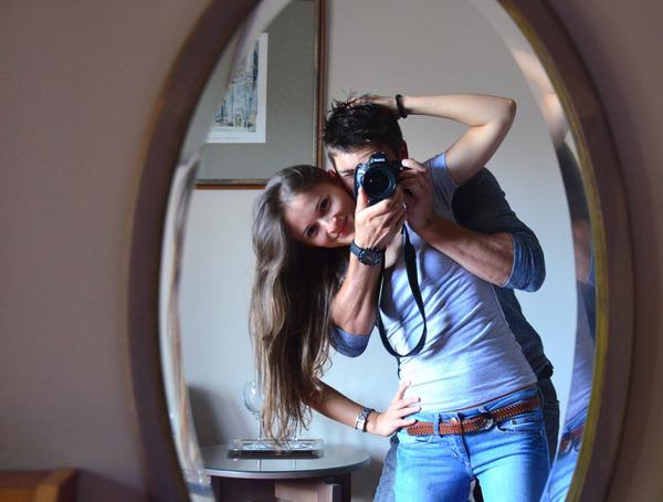 lustro w dębowej ramie